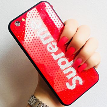 Supreme & LV & Victoria's Secret & Fendi & Chanel iPhone x Diamond Phone Case F0220-1 Supreme/red
