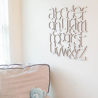 Alphabet Wall Art Natural wood finish laser cut wooden Alphabet letters Alphabet nursery decor ABCs modern baby nursery minimalist nursery