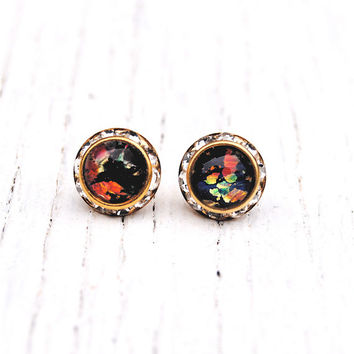 Black Rainbow Opal Diamond Rhinestone Stud Earrings RARE Vintage German Glass Swarovski Crystal Stud Earrings Mashugana