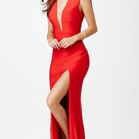 Illusion Plunging Neckline Floor Length Dress by JVN by Jovani