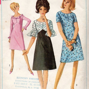 Simplicity 1960s Sewing Pattern A-line Mini Dress Empire Waist Ruffle Cuffs Cocktail Party Dress Mad Men Style Uncut FF Bust 36
