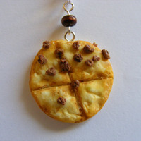 None Pizza with Left Beef  Miniature Food Necklace-Pizza Necklace,Miniature Food Jewellery,Handmade Jewelry,Mini Food Pendant,Pizza Jewelry
