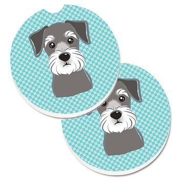 Checkerboard Blue Schnauzer Set of 2 Cup Holder Car Coasters BB1144CARC