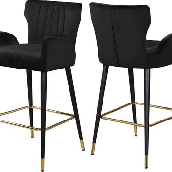 Luxe Black Velvet Stool (set of 2)
