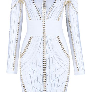 'Marren' Crystal Mesh Studded Dress - White