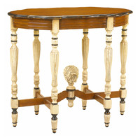 "French Heritage, Jolie 34"" Oval End Table, Cream/Honey, Standard Side Tables"
