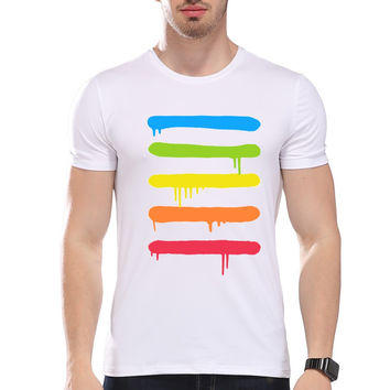 Men's Modal T-shirt Melted Colorful Stripes Printed O-neck Short Sleeve Summer Casual Tee for Men