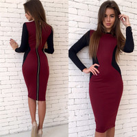 2017 Sexy Contrast Color Long Sleeved Geometry Printing Dresses Back Zippers Slim Fit Stretchy Knee-Length Bodycon Vestido LX264