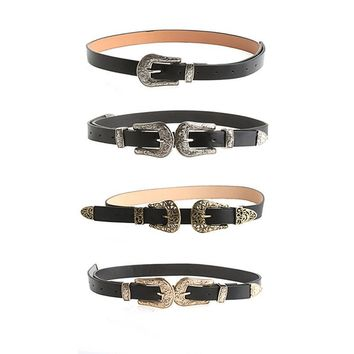 Women Lady Fashion Vintage Adjustable Punk Metalic Waistband Waist Belt Double Buckle Accessory