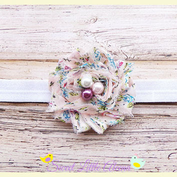 Shabby Flower Hair Clip, Simple Baby Headband, Pearl Cluster Hair Bows, Newborn Photo Prop, Floral Infant Headband, Toddler Hairband, Bows