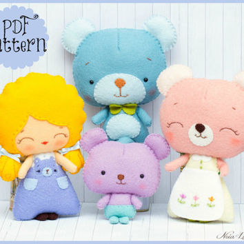 PDF. Goldilocks and the three bears. Fairy tale pattern. Plush Doll Pattern, Softie Pattern, Soft felt Toy Pattern.