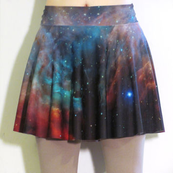 Galaxy Circle Skater Skirt ~ M/L ~ Rainbow Galaxy Spandex Actual Space Image Orion Nebula Digitally Printed Nasa Hubble