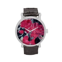 Red and Black Floral print Ladies Leather Watch