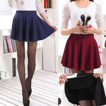 Korean Womens Elastic High Waist Pleated Ruffles Mini Skirt Short Dress Pantskirt = 1705754180