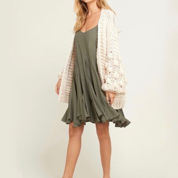 Pop Pop! Popcorn Sleeve Knit Cardigan in Natural