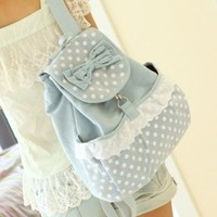 Same Day Shipping Vintage Pastel Bleu Canvas Backpack from Moooh!!