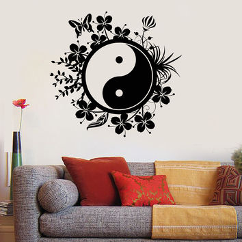 Vinyl Wall Decal Yin Yang Tai Chi Chinese Philosophy Floral Patterns Stickers (ig2805)