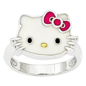 Hello Kitty® Fine Jewelry Sterling Silver Pink Bow Ladies' Ring