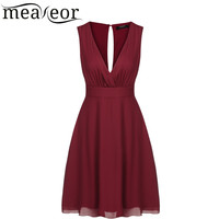 Meaneor women dress summer 2016 Women Deep V-Neck Dresses women pule size Sleeveless A-Line Pleated Party Dress Vestidos Robes