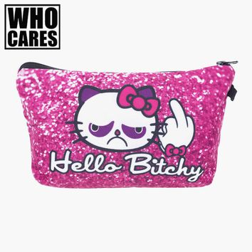 Hello bitchy Kitty Pink Cosmetic Bag