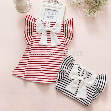 retail striped summer baby girls dresses 2018 navy&red princess kids dress infant baby clothing for 0-2 years girls