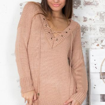Bandage V Neck Long Sleeve Sweater
