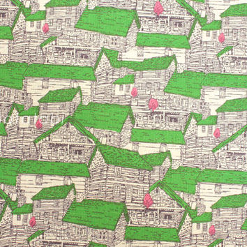 Japanese Fabric - Wooden Houses - green and pink on natural