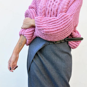 Wool Sweater, Oversized Sweater, Knit Sweater,  Chunky Sweater, Bulky Sweater, Loose Fit Dusty Pink Sweater, Plus Size Sweater, Gift for Her