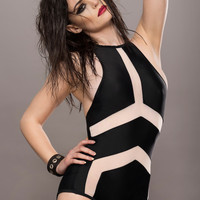 Black One Piece Swimsuit with Mesh Details