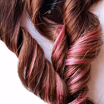 Chocolate Strawberry #4 Medium Brown Ombre 100% human hair extensions Rose Pink Clip In Ombre hair Boho Chic Indie Alternative