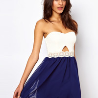 Paprika | Paprika Bandeau Cut Out Chiffon Prom Dress at ASOS