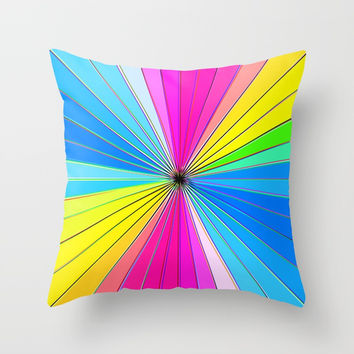 Color Burst II (Blue // Yellow) Throw Pillow by AEJ Design