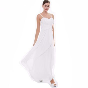 Long evening dress white sleeveless spaghetti straps a line ankle length gown women prom party formal evening dresses