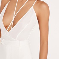 Missguided - Silky Strap Detail Bodysuit White