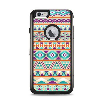 The Tan & Teal Aztec Pattern V4 Apple iPhone 6 Plus Otterbox Commuter Case Skin Set