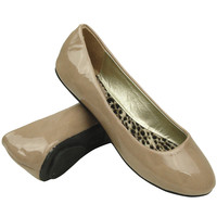 Women's Ballet Flats Patented Leather Round Toe Slip On Comfort Shoes Taupe