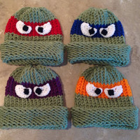 Teenage Mutant Ninja Turtle Inspired Halloween Baby Infant Toddler Child's Teen Adult Knitted Winter Hat