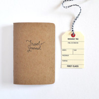Small Kraft Travel Journal, Travel Notebook with Hand Lettered Cover
