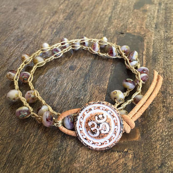 Ohm Boho Crochet Bracelet, Peace, Bohemian Multi Wrap Leather Beaded Jewelry by Two Silver Sisters
