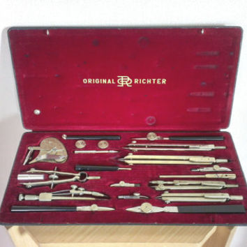 Rare Vintage   Set of   20 Drawing Instruments , E. O. Richter & Co.  Drafting Tools  ,Germany Sachsen, Chenitz