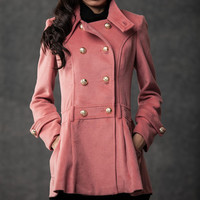 Pink coat double-breasted jacket for women