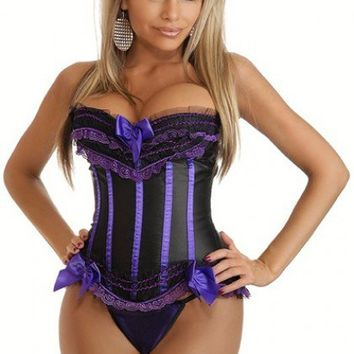 Black Purple Strapless Burlesque Ruffled Corset Intimates @ Amiclubwear Intimates Clothing online store:Lingerie,Corset,Bustier,Women's Intimates,Sexy Intimate,Corset Intimates,intimates underwear,sheer intimates,silk intimates,intimates bras,holiday unde