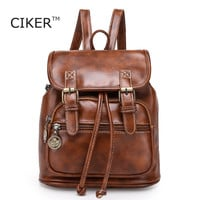 CIKER Fashion women fashion designer brand backpacks vintage leather shoulder bag retro small lady schoolbag mochila cute bags