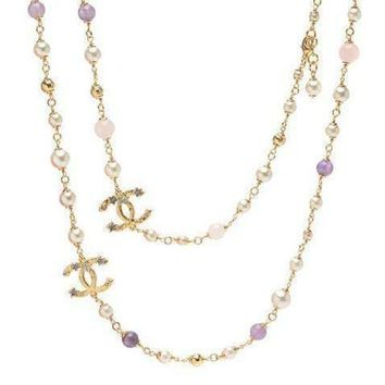 DCCKNQ2 Chanel Woman Fashion Logo Pearls Necklace For Best Gift-12