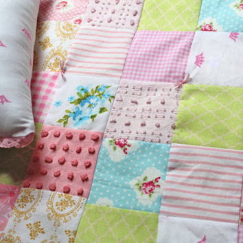 Doll Quilt Set - Doll Blanket Set - Doll Bedding - Quilt and Pillow for Doll - Doll Patchwork Quilt - Chenille Blanket
