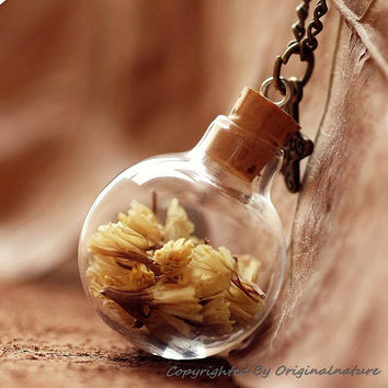 Bridesmaid Gift Ideas Real Dried Flower Necklace Pendant (HM0076)