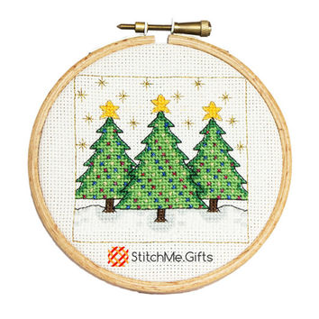 Christmas Trees Cross Stitch Pattern PDF Instant Download