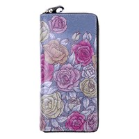 Vintage Style Art Skull and Rose Totem Rose Floral Print Sleepy Floral Owl Print Love Quote Print Leather Zip Around Purse Money Organizer (Purple)