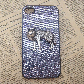 Steampunk Wolf Black bling glitter hard case For Apple iPhone 4 case iPhone 4s case cover