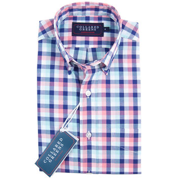 The Cary Button Down Shirt Navy/Teal/Pink